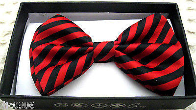 BLACK AND RED SWIRL STRIPED ADJUSTABLE  BOW TIE2-NEW GIFT BOX!