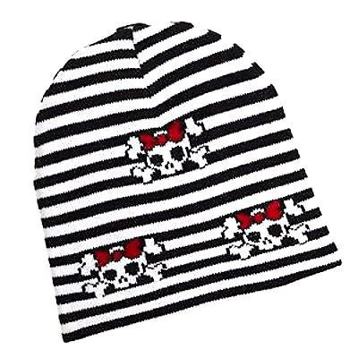 black&white Stripes w/ Skulls and Crossbones Winter Knitted Skull Beanie Ski Cap