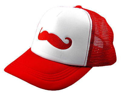 Unisex Fashion Trucker Hat with Red Embroidered Mustache Adjustable Baseball Cap