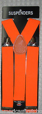 "SOLID NEON ORANGE  ADJUSTABLE WIDE 1 1/4"" 1 1/2"" WIDE SUSPENDERS-NEW!"