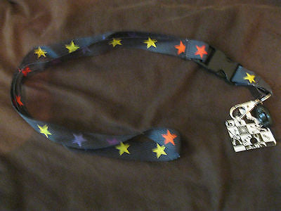 "Black with Multi Colored Stars Design 15"" lanyard for ID Holder Mobile Device"