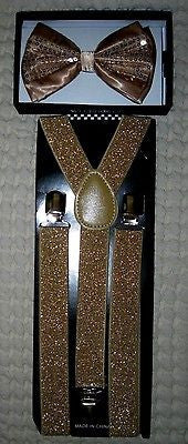 Champaign Gold Black Tips Adjustable Bow tie & Glittered Adjustable Suspenders
