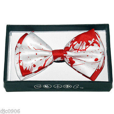 WHITE BLOOD SPLATTER SPLATTERED ADJUSTABLE STRAP BOW TIE-NEW GIFT BOX!