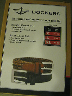 DOCKERS Leather Soft-Touch Leather Two Belt Lot Black & Brown Belts -XLarge-New!