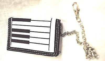 "BLACK PIANO KEYBOARD PIANO KEYS Wallet Unisex Men's 4.5"" x 3"" W-New in Package!"
