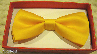 KID'S UNISEX SOLID YELLOW COLOR TUXEDO ADJUSTABLE BOWTIE BOW TIE-NEW WITH BOX!