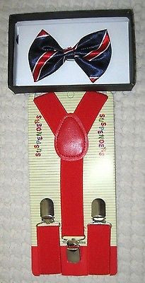 Kids Blue&Red Stripes Boys Girls Adjustable Bow Tie& Red Y-Back suspenders-New!