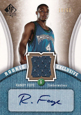 RANDY FOYE 2006-07 SP AUTHENTIC ROOKIE GOLD GAME-USED JERSEY AUTO SP #16/60 JAZZ