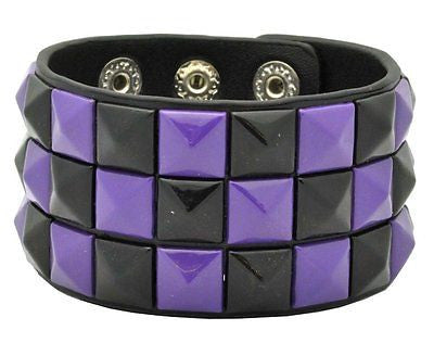 Black triple row Checkered Studded Black Leather Bracelet-Brand New!