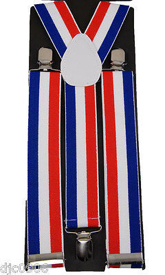 "THICK 1 1/2"" RED WHITE BLUE STRIPES Adjustable Y-Style Back suspenders-New!"