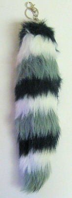 "SOLID WHITE FAUX FUR FOX TAIL FOXTAIL KEYCHAIN 12"" CLIP-BRAND NEW!"