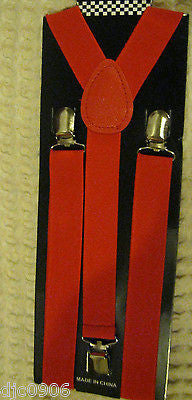 Solid Red Diamond Mesh Pattern Bow Tie & Solid Red Y-Back Suspenders Combo Set