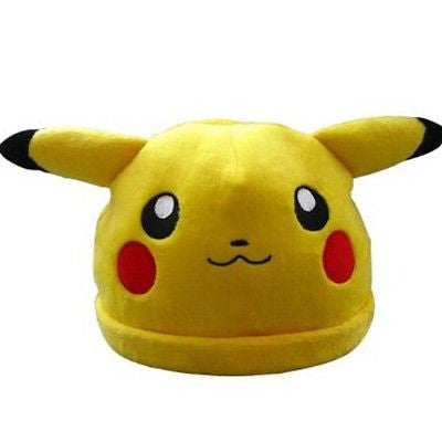 Pikachu Face Anime Plush Cap Beanie Cosplay Hat Warm-Cap Fitted Size 8 Large