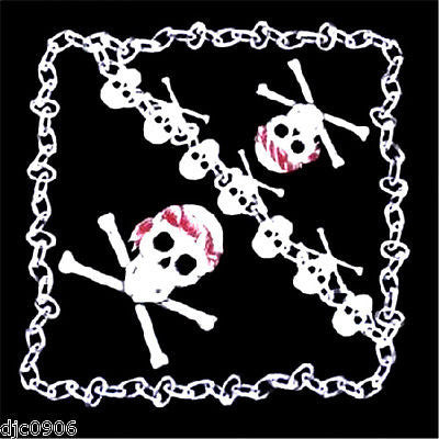 Black with Skull & Crossbones Chain Bandana Double Side HeadWrap Scarf Wristband