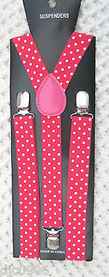 Pink Punker Lips on Black Adjustable Bow tie & Hot Pink Suspenders Combo Set-New