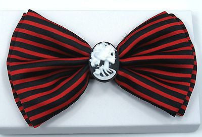 RED & BLACK STRIPES LADY CAMEO IN CENTER TUXEDO ADJUSTABLE BOWTIE BOW TIE-NEW!