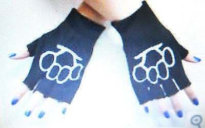 BLACK WITH WHITE BRASS KNUCLES CUTOFF KNIT FINGERLESS GLOVES WINTER WOMENS GIRLS