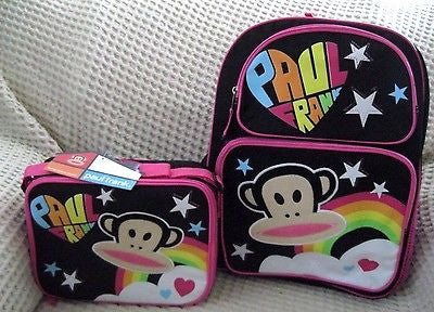 "Paul Frank Monkey 16"" Adjustable Strap Backpack and matching Lunchbox-Brand New!"