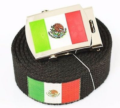 "Canvas Military ""Mexico"" Green White Red Flag Web Belt & Matching Belt Buckle"