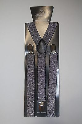 Unisex GRAY SILVER Glittered Adjustable Y-Style Back suspenders-New!  SUSPENDERS