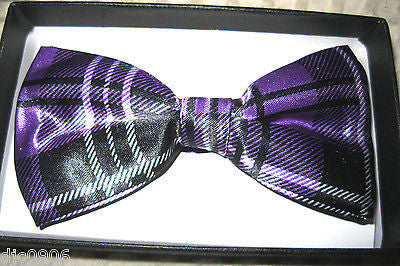 PLUM PURPLE WITH GOLD STRIPES TUXEDO ADJUSTABLE  BOW TIE BOWTIE-NEW IN GIFT BOX!