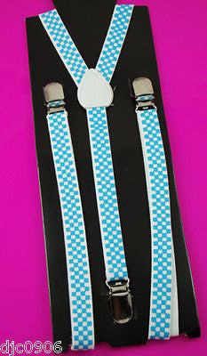 "Unisex Thin 3/4"" Black w/ White Polka Dot Adjustable YStyle Back suspenders-New"