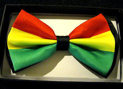 Rasta Adjustable Bow Tie and Rasta Stripes with MMJ Leaves Tie Combo-New!!