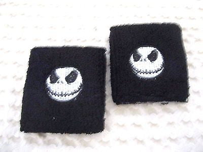 Black with Jack Skellington Wristbands Sweatbands-Jack Skeleton Sweatbands-New!