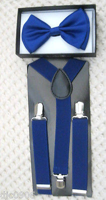 Kids Teens Blue Adjustable Bow Tie & Blue Adjustable Suspenders Combo Set-New!