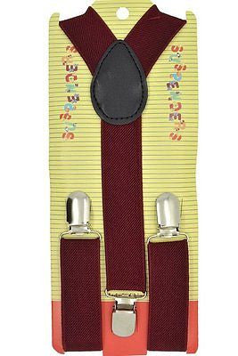 "Kids Burgundy Maroon Y-Back Adjustable Suspenders-16.5""-27"" Burgundy Suspenders"
