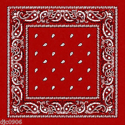 100% Cotton Paisley Red Bandannas Double Sided Head Wrap Scarf Wristband-New!