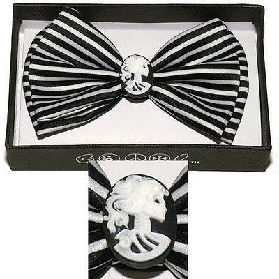BLACK WHITE STRIPES LADY CAMEO IN CENTER TUXEDO ADJUSTABLE BOWTIE BOW TIE-NEW!