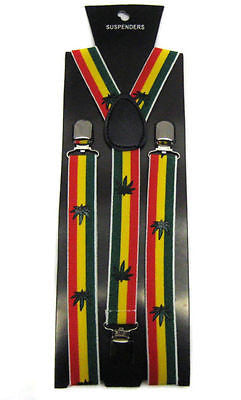 Rasta (green/yellow/red) Stripes Weed MJ Leaves Bob Marley Suspenders Combo-New!