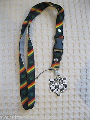 "Rasta Stripes Marijuana MJ Weed Leaves 15"" Lanyard/Landyard ID Holder Keychain"