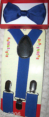 Kids Boys Girls Blue with White Polka Dots Adjustable Bow Tie&White Suspenders