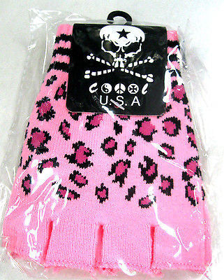 CHEETAH LEOPARD PRINT PINK FINGERLESS GLOVES KNIT SAFARI ANIMAL-GOTHIC-NEW!