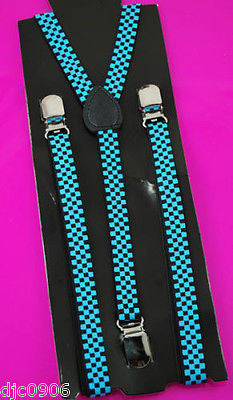 "Unisex Thin 3/4""Turquoise Blue Checkered Adjustable Y-Style Back suspenders-New"