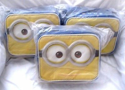 Lot of 3 Despicable Me 2 Minions Jerry Two Eyes Insulated Lunch Boxes Bag