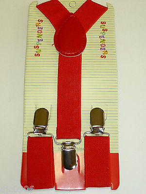Solid RED Kids Boys Girls Y-Style Back Adjustable suspenders-New in Package!