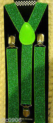 Neon Yellow Green Striped Bow Tie & Neon Green Glittered Adjustable Suspenders
