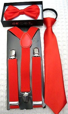 Kids Teens Red Adjustable 2 Layer Bow Tie & Red Adjustable Suspenders Combo-New!