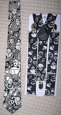 "Unisex Multiple Skulls Neck Tie,& Wide 1 1/2"" Multi Skulls Suspenders Combo-New!"