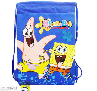 NICK JR. SPONGEBOB + FRIENDS BLACK DRAWSTRING BAG BACKPACK TRAVEL STRING -NEW!!