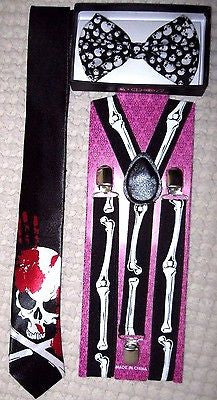 Unisex Skulls Bow tie,Bloody Skeleton Neck Tie&Skeleton Bones Suspenders-New!v3