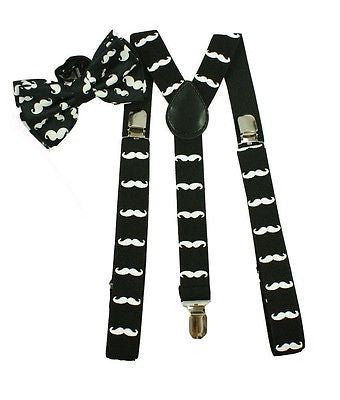 "White Wide 1 1/2"" Adjustable Suspenders & White Adjustable Bow Tie COMBO-New!"