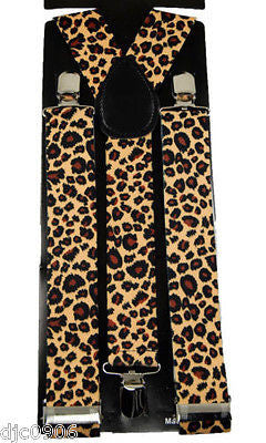 "THICK 1 1/2""  Brown Beige Tan Leopard Adjustable Y-Style Back suspenders-New!"