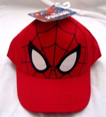 Marvel Super Hero Spiderman Face with Web Baseball Cap-Spiderman in Web Cap-New