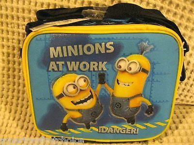 "Despicable Me 2 Minions At Work 9.5"" Lunch Box Lunch Bag+Minions Lanyard-All New"