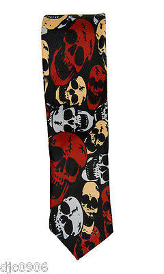 "Unisex Blue with White Skulls & Crossbones Neck tie 56"" L x 2"" W-Skulls Tie-New"