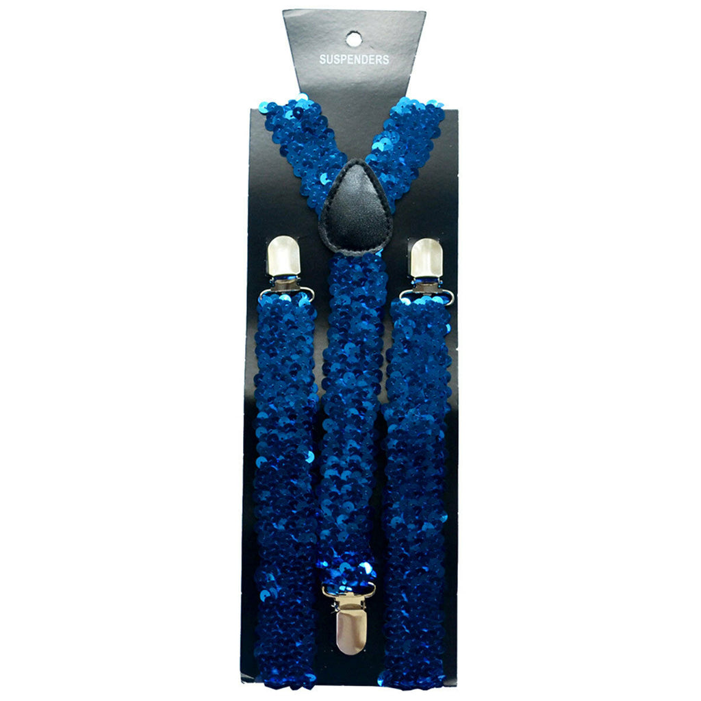 "Royal Blue Sequin Adjustable up to 42"" Y-Back Suspenders Set of 20-New!"